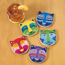 Clever Cat Coasters - Set of 6