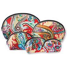 Red Paisley Make-up Bags - 5 pc. Set