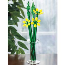 Blown Glass Flowers in Vase - Yellow