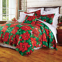 Poinsettia Fleece Bedding