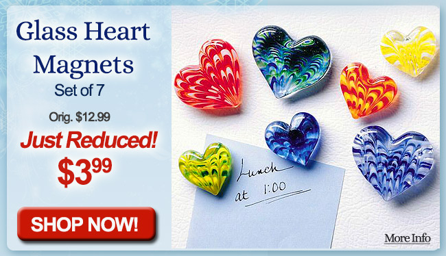 Glass Heart Magnets
