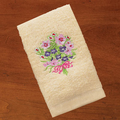 Embroidered Floral Bouquet Towels
