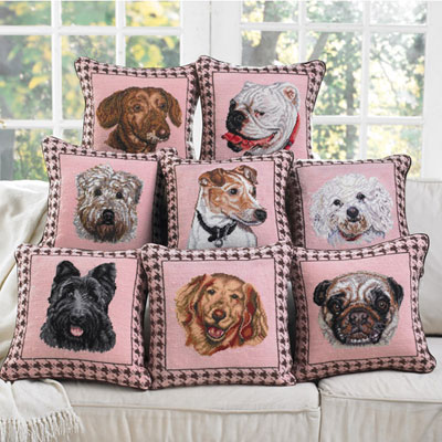 Dog Portrait Needlepoint Pillows