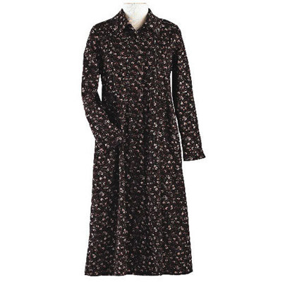 Brown Floral Print Corduroy Dress