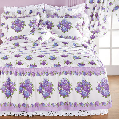 Lilac Floral Quilted Decorative Pillow
