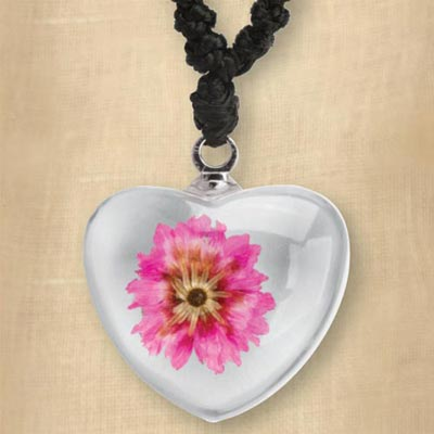 Pink Flower in Heart Necklace