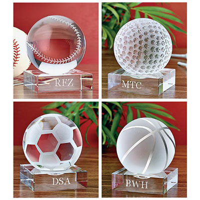 Crystal Sports Balls with Personalized Base