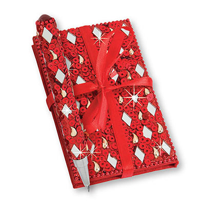 Red Bejewelled Notebook & Pen Set