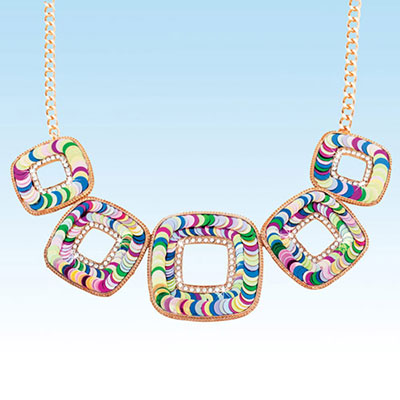 Colourful Squares Necklace