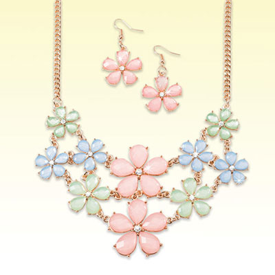 Pastel Flowers Jewellery Set