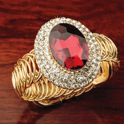 Brilliant Faux Ruby Cuff Bracelet