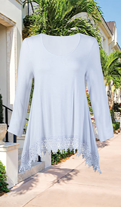 Flowy Crochet- Trimmed Top