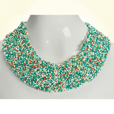 Coral & Turquoise Woven Necklace