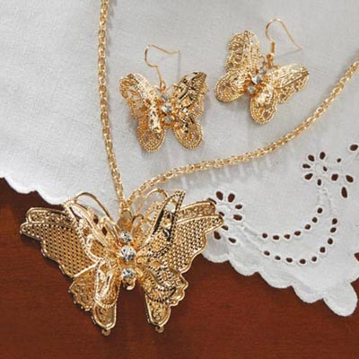 3-D Filigree Butterfly Jewellery Set