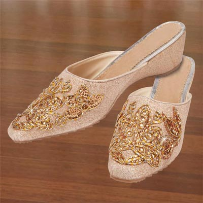 Golden Embroidered Slip-Ons