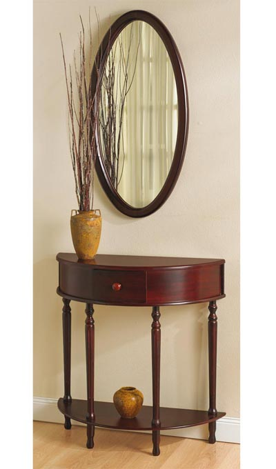 Demilune Table & Oval Mirror Set