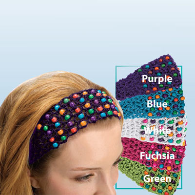 Colourful Crochet & Beaded Headband