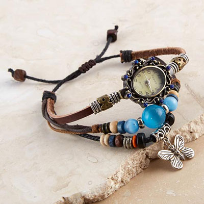 Beaded & Charmed Multi-Strap Watch