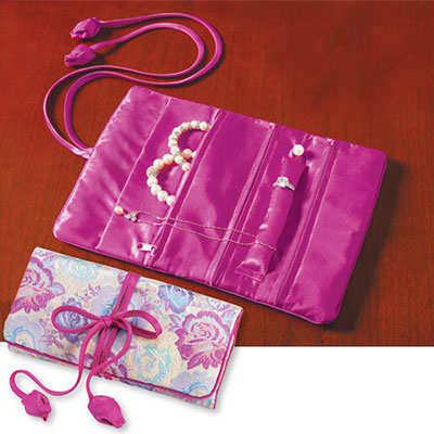 Floral Damask Jewellery Roll