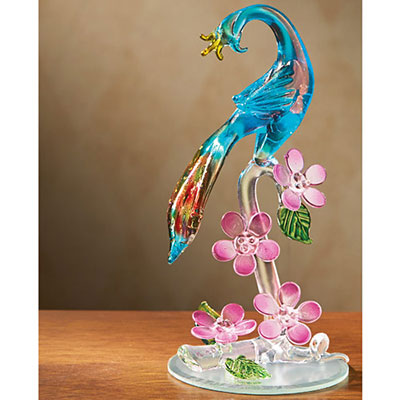 Glass Peacock figure