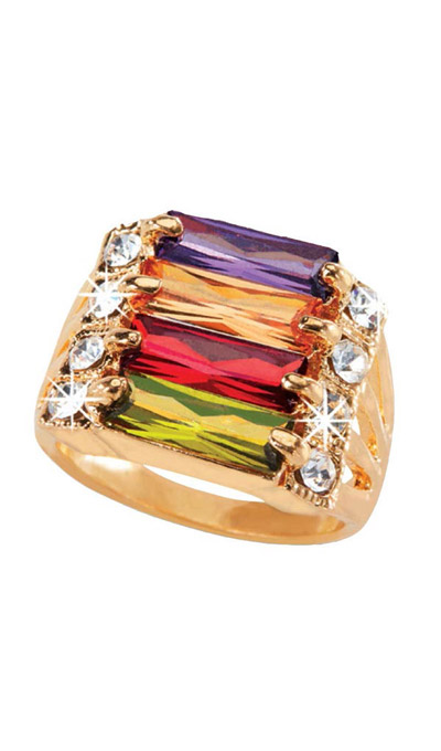 Faceted Rainbow Ring