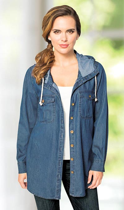 Hooded Denim Big Shirt