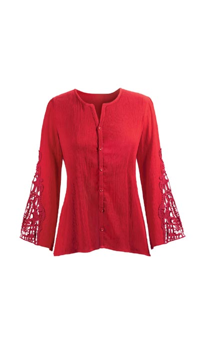 Lacy Bell-Sleeve Shirt