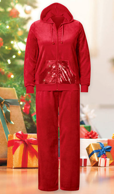 Festive Sequined Velour Lounge Set