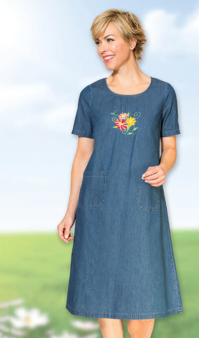 Embroidered Denim Skimmer Dress