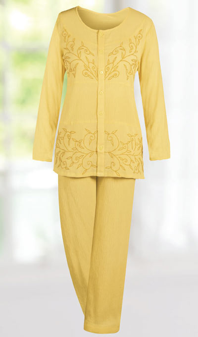 Crinkle Cotton Embroidered Pant Set
