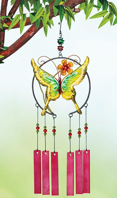 Glass & Metal Butterfly Wind Chime