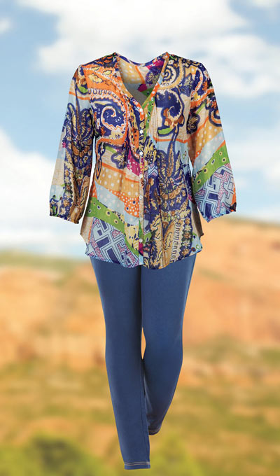 Colourful Pintuck Blouse