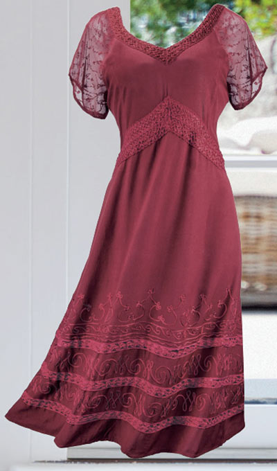 Embroidered Rayon Dress